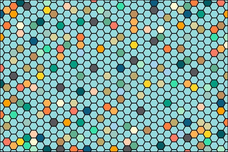 Abstrakt bakgrund som består av uppsättningen av sexhörniga celler Vektordiagram som är färgrika för bakgrundsbanerpresentation stock illustrationer