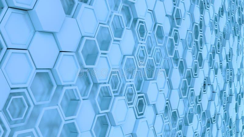 Abstrakt bakgrund som 3d göras av blåa sexhörningar royaltyfri illustrationer