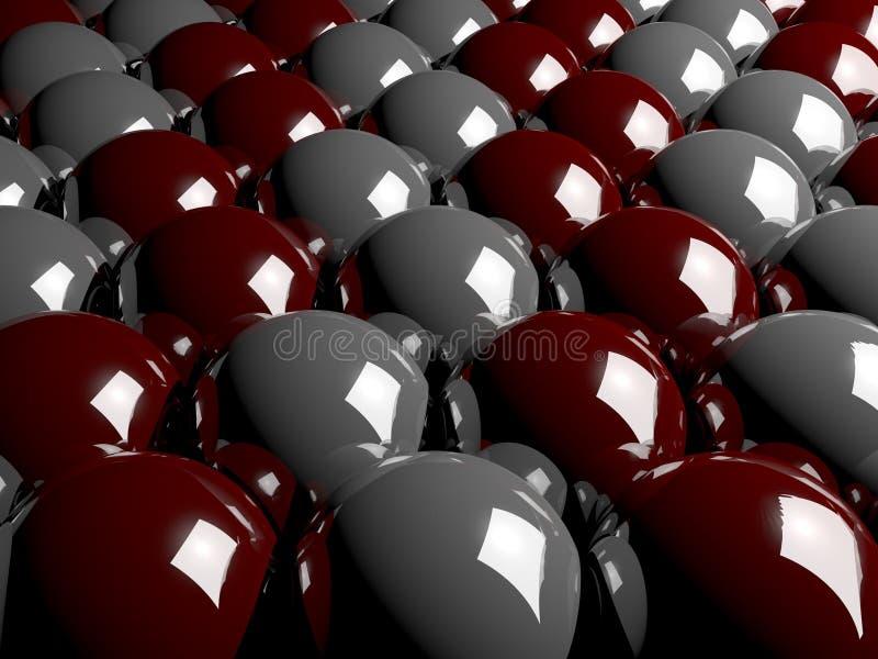 Abstrakt bakgrund som göras av glass bollar 3D i rött och grått stock illustrationer