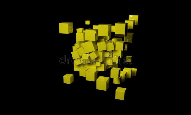 Abstrakt bakgrund som komponeras av kuber, 3d stock illustrationer