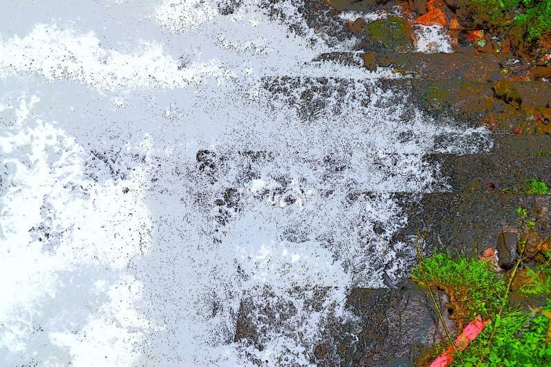 Abstrakt bakgrund - stänk av vitt skummande vatten mot skuggor av gräsplan och grå färger vektor illustrationer