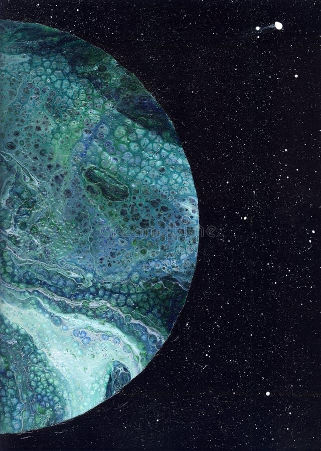 abstrakt bakgrund abstrakt textur Vätskeakryl Fluid konst avstånd Natthimmel med massor av stjärnor fotografering för bildbyråer