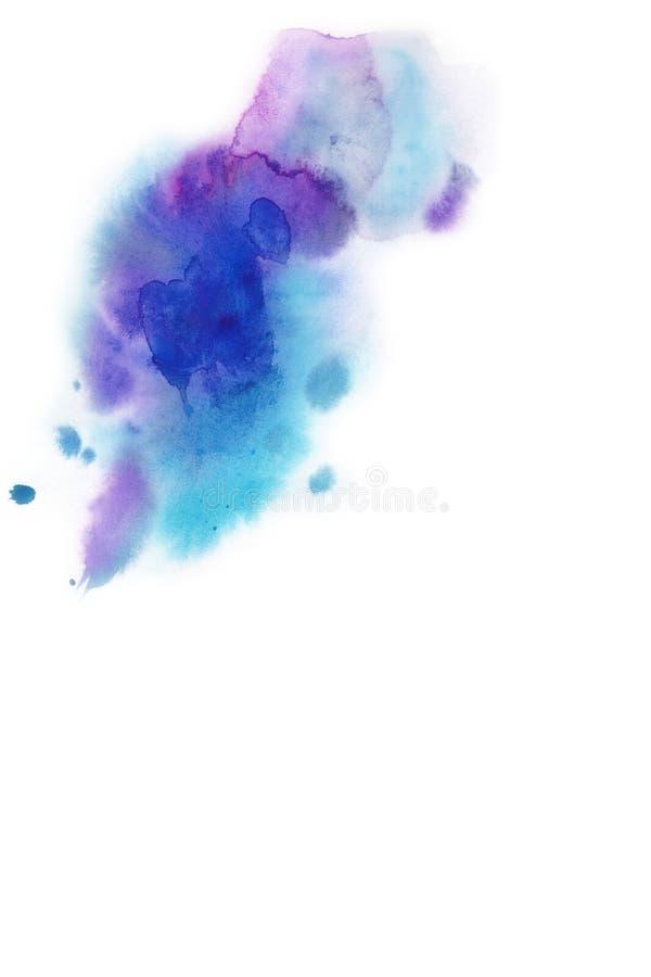 abstrakt bakgrund Vattenfärgfärgstänk har dragit manuellt blått, p stock illustrationer