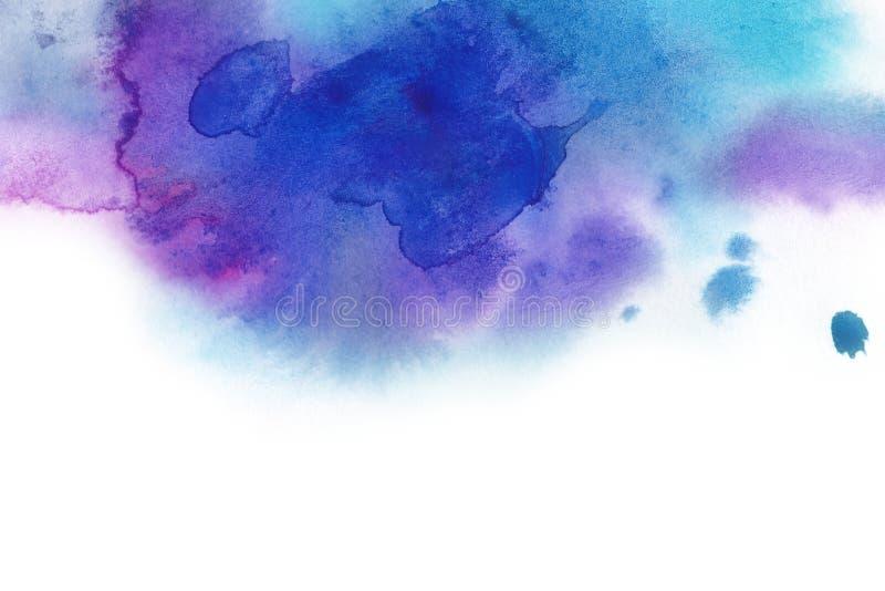 abstrakt bakgrund Vattenfärgfärgstänk har dragit manuellt blått, p royaltyfri illustrationer