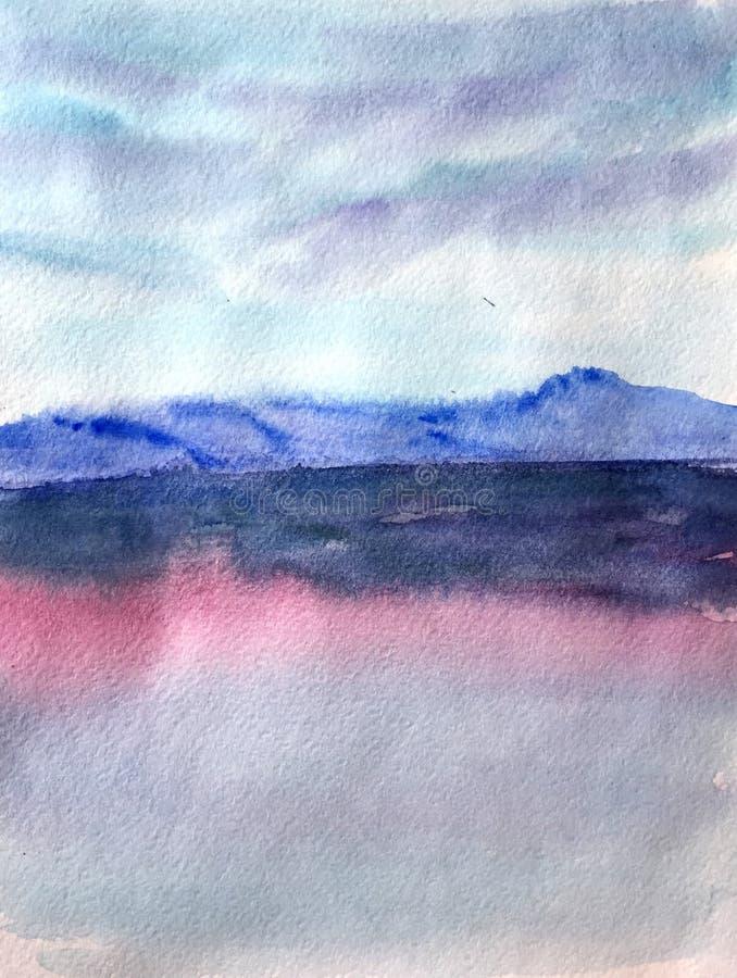 Abstrakt bakgrund, vattenfärgsolnedgång med lila färger vektor illustrationer