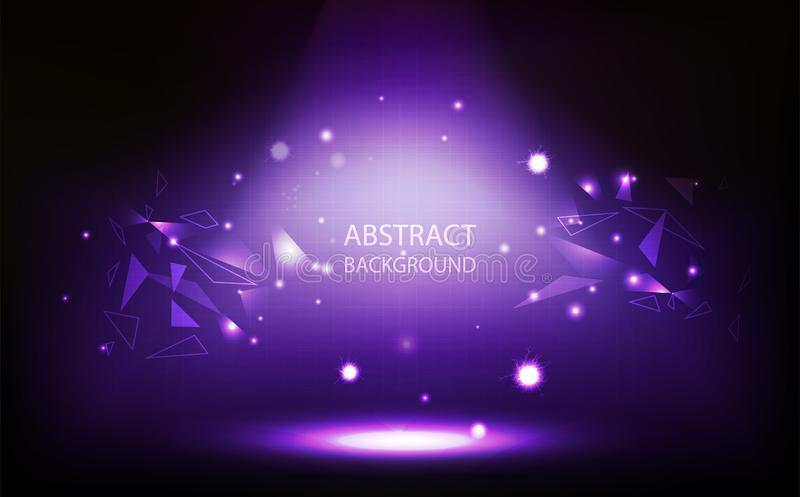 Abstrakt bakgrund, violett strålkastare i rum, rastervägg, triangelpolygonbegrepp med vektorillustrationen för digital teknologi vektor illustrationer