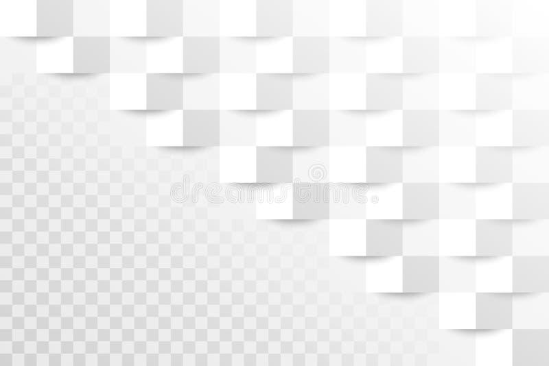 abstrakt bakgrund Vit geometrisk textur mönstrad fyrkanten räkningsbok för papper 3d också vektor för coreldrawillustration Täcka royaltyfri illustrationer