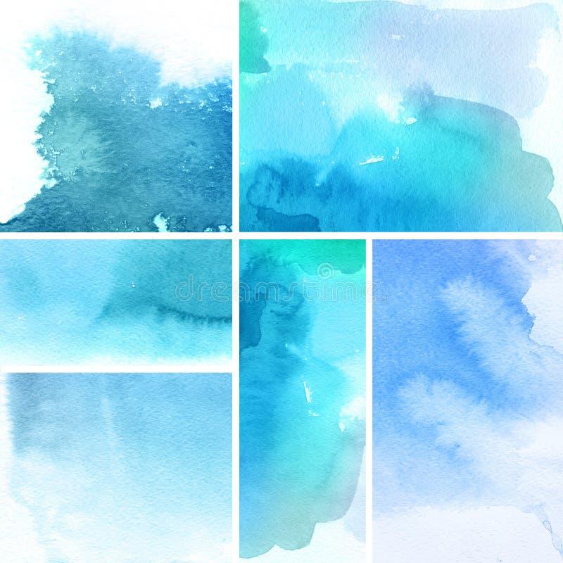 abstrakt bakgrunder ställde in vattenfärg stock illustrationer
