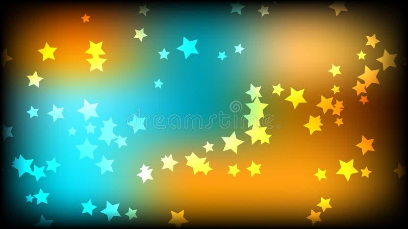 abstrakt bakgrundsavstånd Mångfärgade stjärnor på en guling- och blåttbakgrund royaltyfri illustrationer