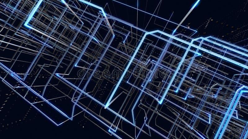 Abstrakt bakgrundsblåttraster mot svart bakgrund stock illustrationer