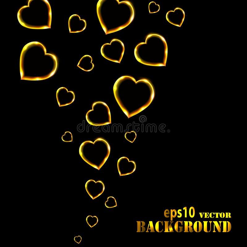 abstrakt bakgrundsblack som flyger guld- hjärtor royaltyfri illustrationer