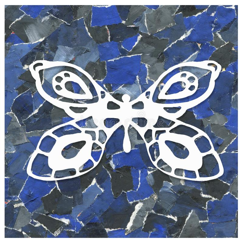 Abstrakt bakgrundscollage av rester av papper med bilden av en fjäril Design av tryck, packar, modeller, omslag, royaltyfria foton