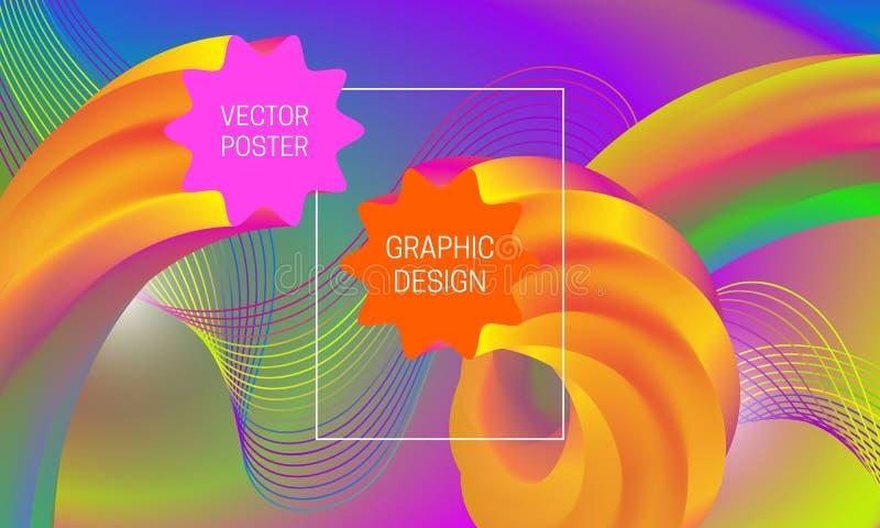 Abstrakt bakgrundsdesign med vätskeflödesformer och den färgrika guillochebeståndsdelen Dynamisk musikaffischmall royaltyfri illustrationer
