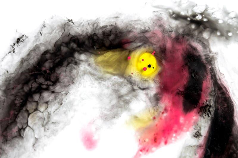 abstrakt bakgrundsfärgpulver Rörande vätskemålarfärg i vatten Gulna stock illustrationer