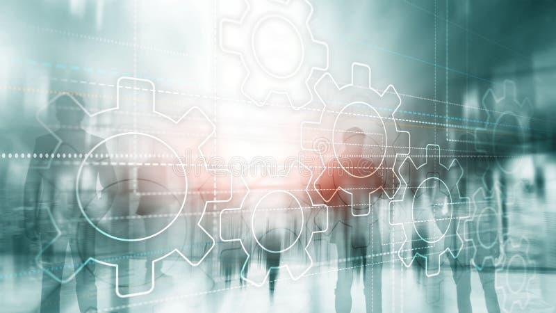 Abstrakt bakgrundskugghjulbegrepp Konturer av affärsfolk på stadsbakgrund Universell teknologitapet stock illustrationer