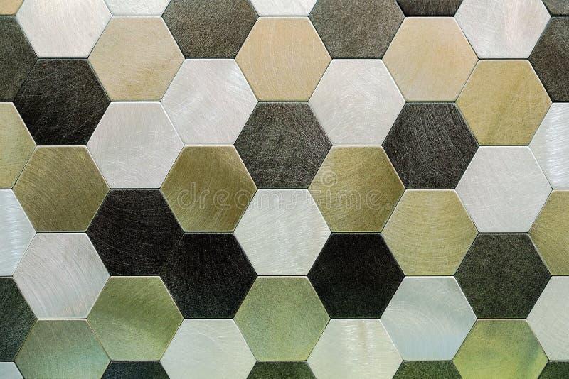 abstrakt bakgrundsmetallsilver Geometriska sexhörningar arkivfoton