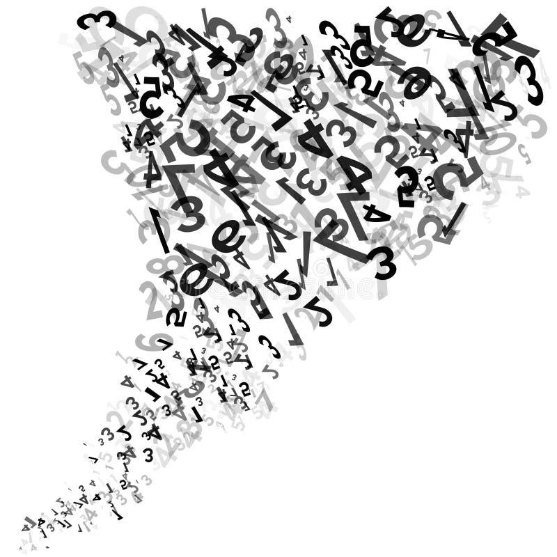 abstrakt bakgrundsnummer 10 eps Abstrakta svartvita slumpmässiga nummer virvlar runt eller den siffer- vågen vektor royaltyfri illustrationer