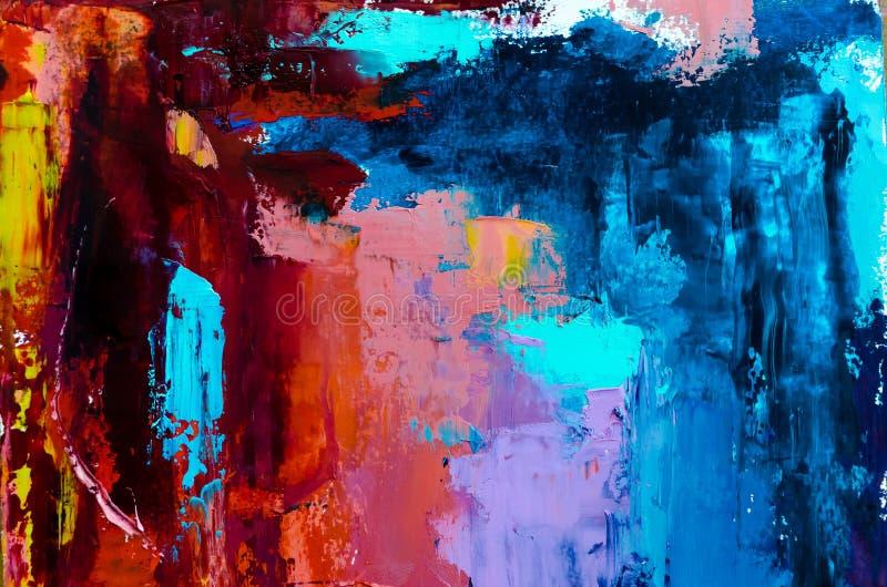 abstrakt bakgrundsoljemålning Olja på kanfastextur Dragen hand stock illustrationer