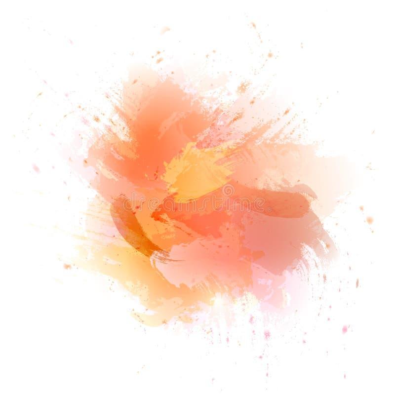 abstrakt bakgrundsorangevattenf?rg F?rgen som plaskar i papperet royaltyfri illustrationer