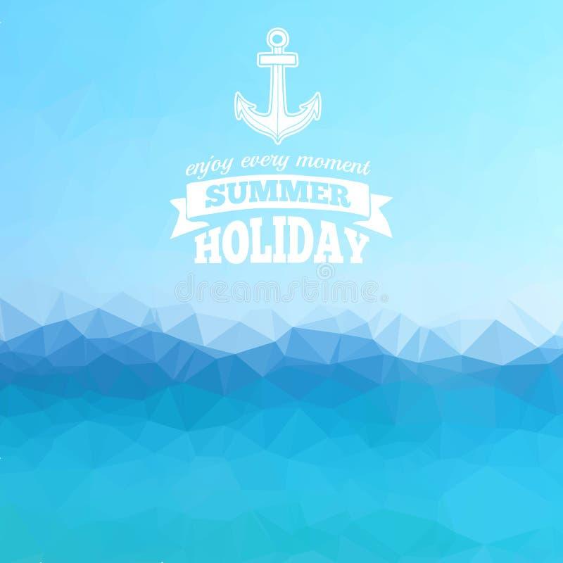 abstrakt bakgrundspolygon som wallpaperen för hav för bakgrund den blåa praktiska för stock illustrationer