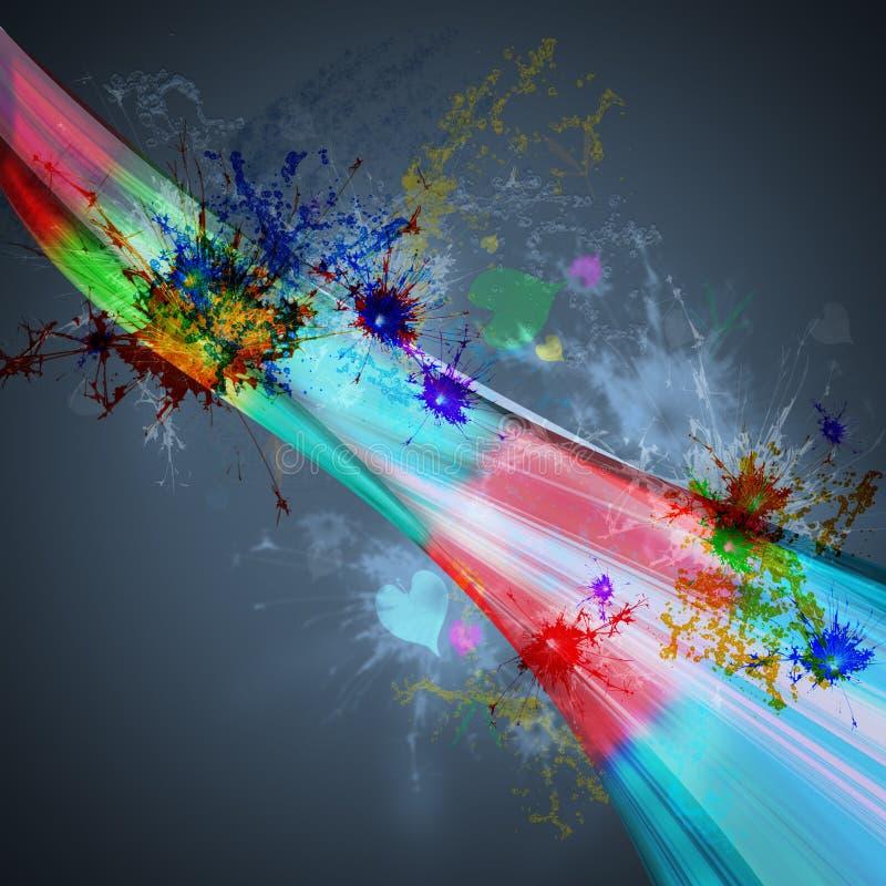 abstrakt bakgrundsregnbågeljus med plaskande färg stock illustrationer