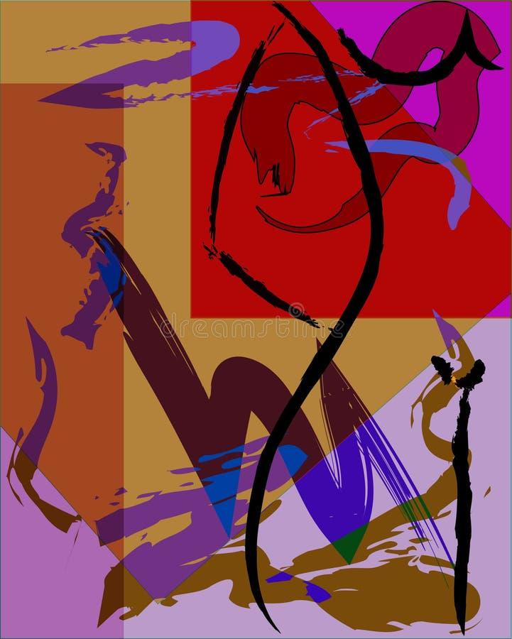 Abstrakt bakgrundssammansättning med målarfärgslaglängder, delen av kroppen och geometriska diagram stock illustrationer
