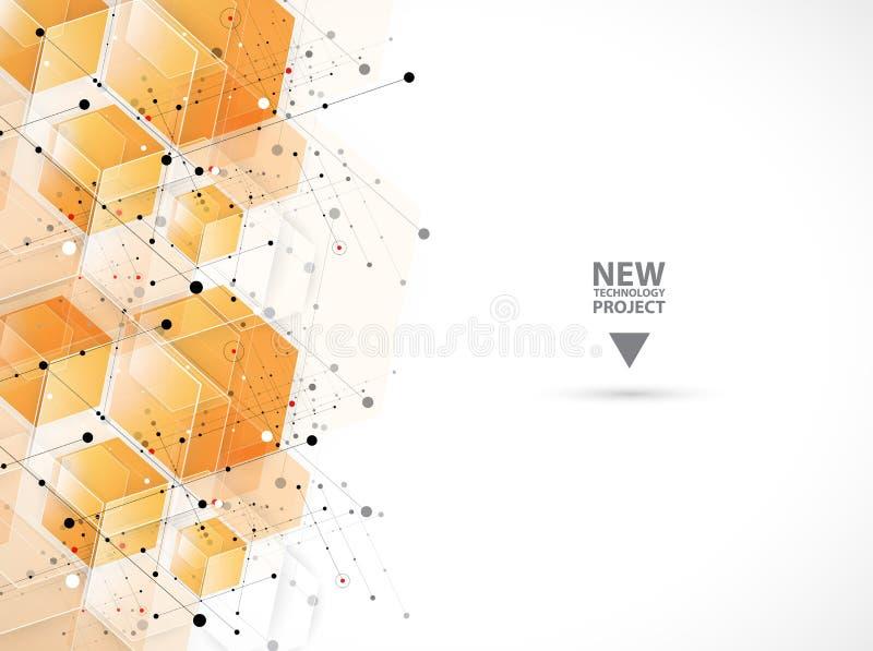 abstrakt bakgrundssexhörning Polygonal design för teknologi Digita