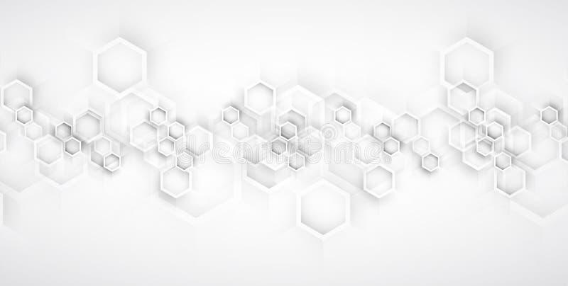 abstrakt bakgrundssexhörning Teknologipoligonaldesign Digital futuristisk minimalism royaltyfri illustrationer