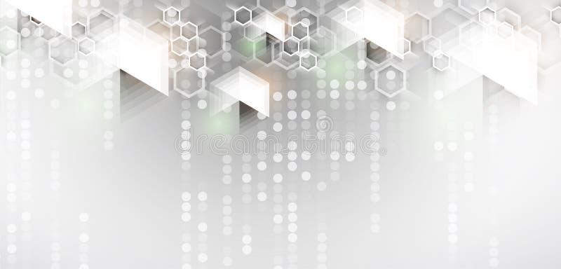 abstrakt bakgrundssexhörning Teknologipoligonaldesign Digital futuristisk minimalism stock illustrationer