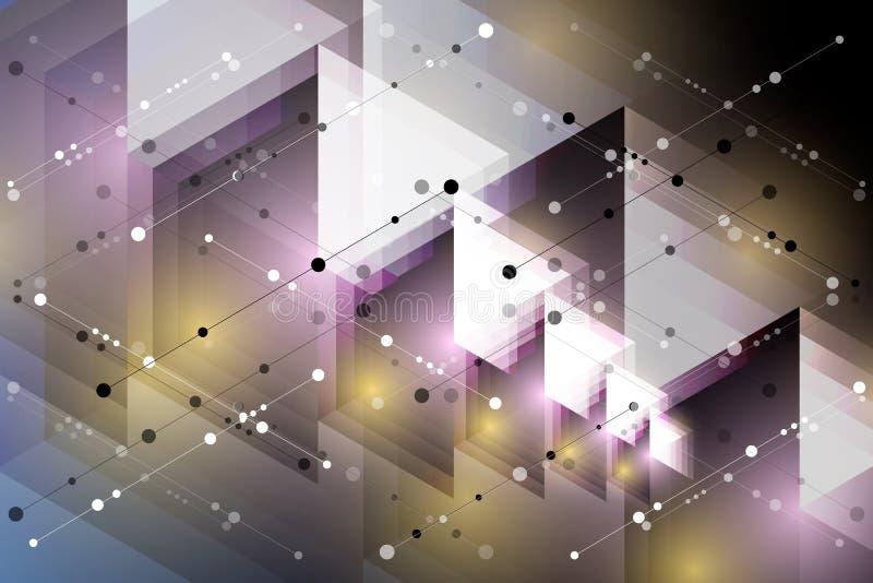 abstrakt bakgrundssexh?rning Polygonal design f?r teknologi Digital futuristisk minimalism vektor stock illustrationer