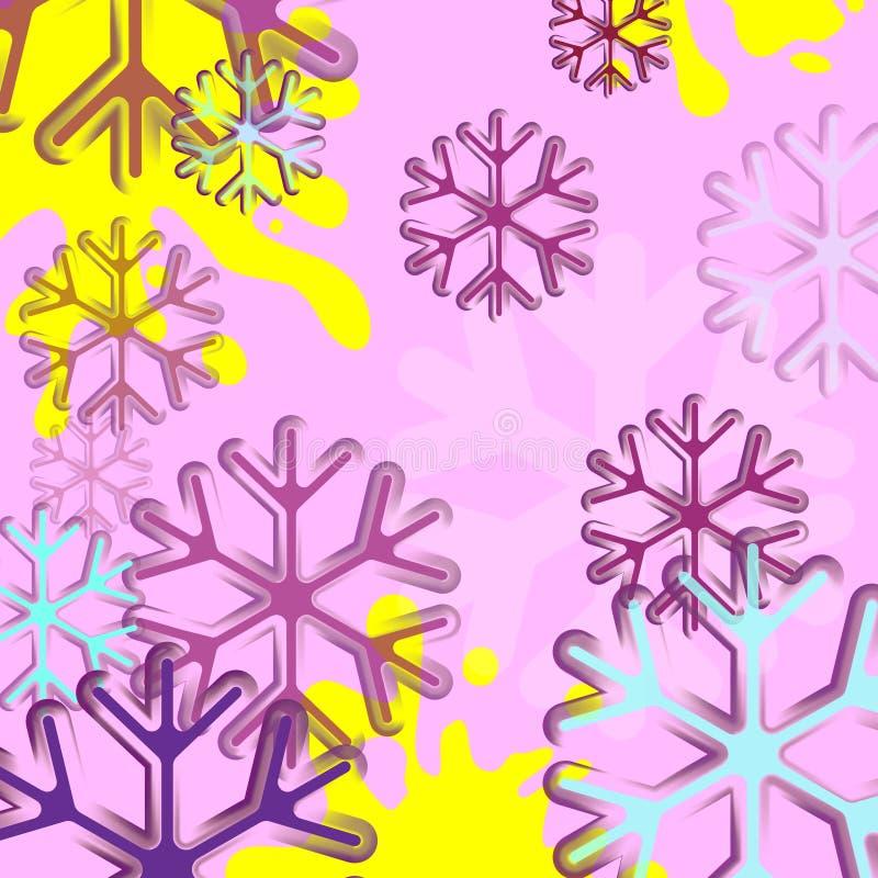abstrakt bakgrundssnowflake Blå och rosa snöflingabakgrund Bakgrund för vektor för julljus Kort eller inbjudan stock illustrationer