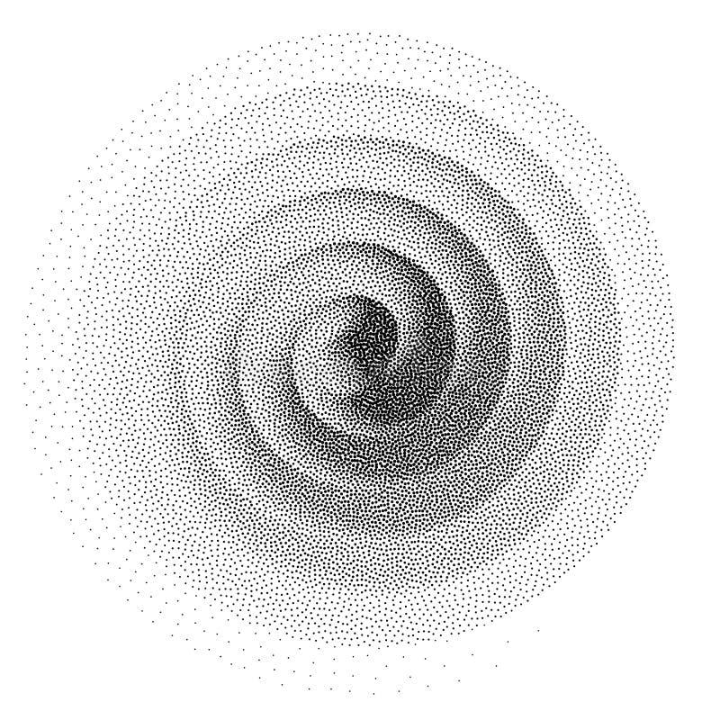abstrakt bakgrundsspiral Den svartvita halvton punkterar prickmodellen royaltyfri illustrationer