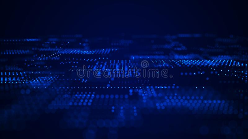 abstrakt bakgrundstech abstrakt bakgrundsavst?nd Bakgrund f?r Digital teknologi bl? i lager sk?rm f?r koddator djupt framf?rande  royaltyfri fotografi
