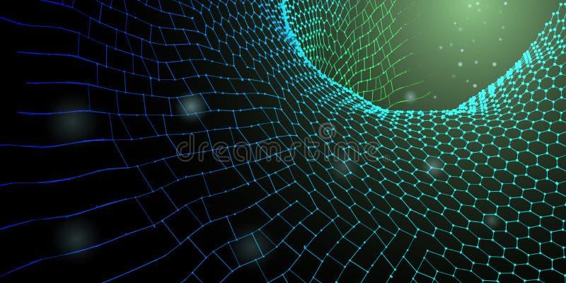 abstrakt bakgrundsteknologi blockchain för begrepp 3D också vektor för coreldrawillustration stock illustrationer