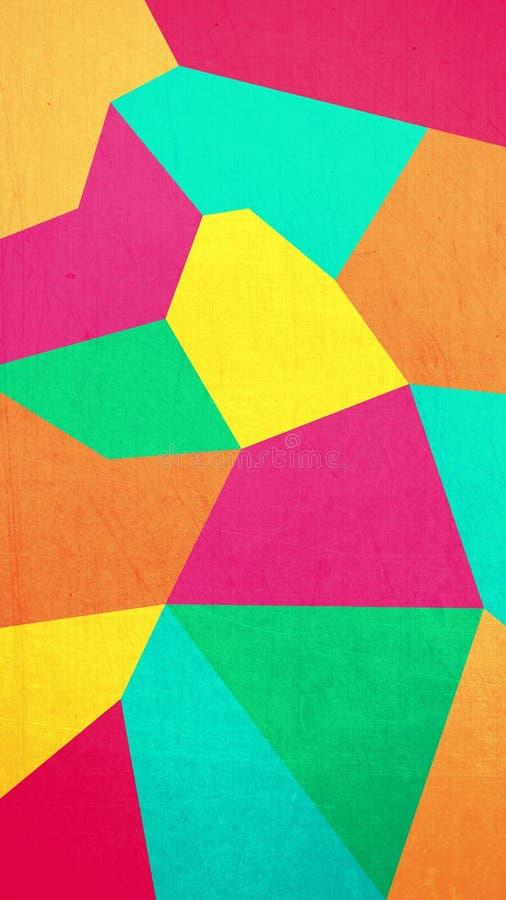 Abstrakt bakgrundstextur av geometriska former av rosa, gula och gröna färger vektor illustrationer