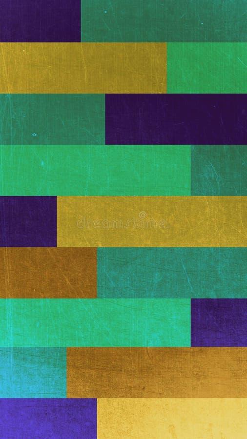 Abstrakt bakgrundstextur av rektanglar av gröna, gula och lila blommor royaltyfri illustrationer