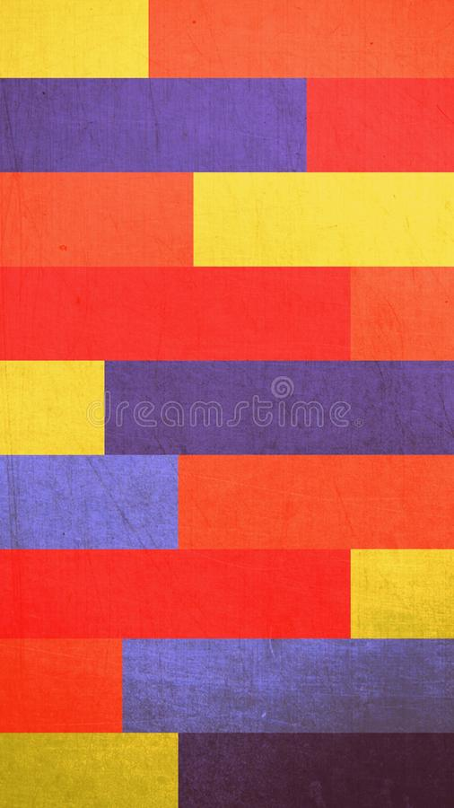 Abstrakt bakgrundstextur av rektanglar av gula och röda färger för apelsin, royaltyfri illustrationer