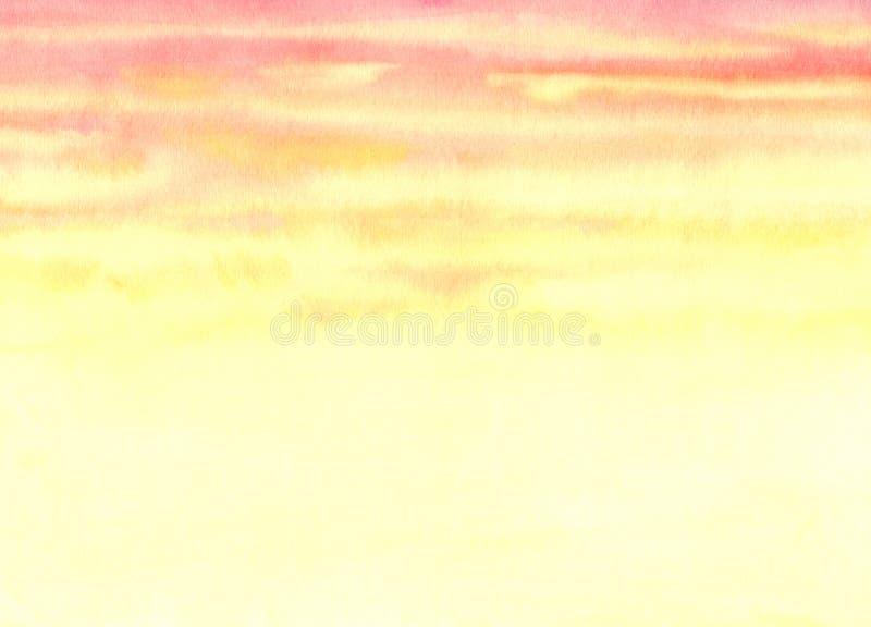 abstrakt bakgrundsvattenfärg Orange aftonhimmel stock illustrationer