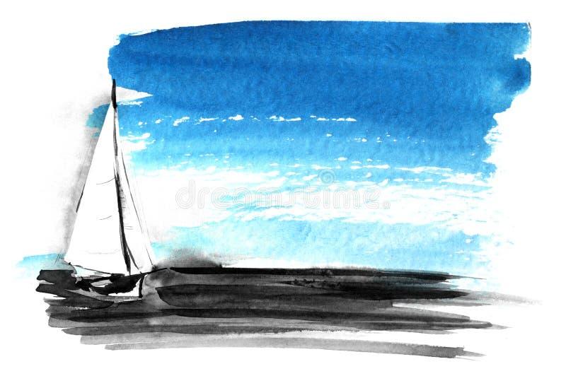 abstrakt bakgrundsvattenf?rg En fläck av strimmiga blåa målarfärgstrimmor Hand-dragen vattenf?rgillustration vektor illustrationer