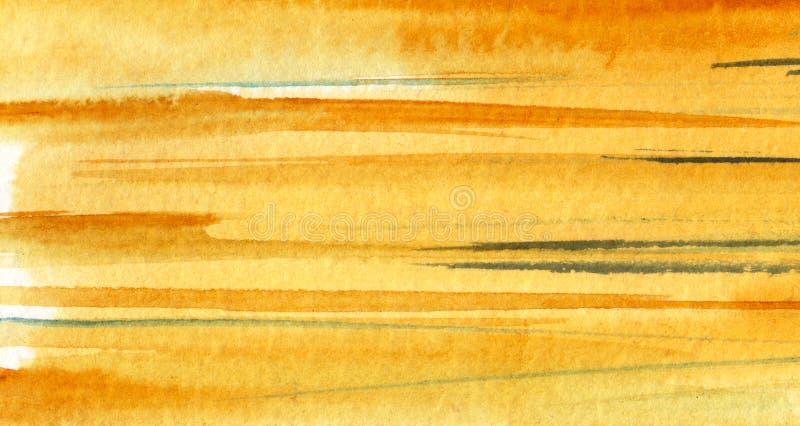 abstrakt bakgrundsvattenf?rg Mångfärgade band och modeller av gula, apelsin-, grå färg- och turkosskuggor royaltyfria foton