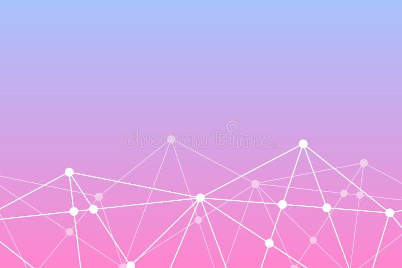abstrakt bakgrundsvektor Triangeln?tverksmodell Rosa violett vit illustration för teknologi, vetenskap, nerv- som är netto royaltyfri illustrationer