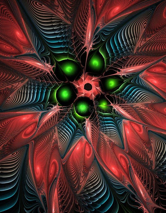 Abstrakt barwiąca ilustracja fractal kwiat, 3D kształtuje szczegóły, zielone sfery, abstrakcjonistyczni płatki ilustracji