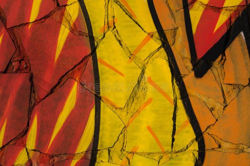 Abstrakt barwiąca tekstura w postaci malującej czerwonej pomarańcze żółtej farby na ścianie łamane płytki i zdjęcie stock