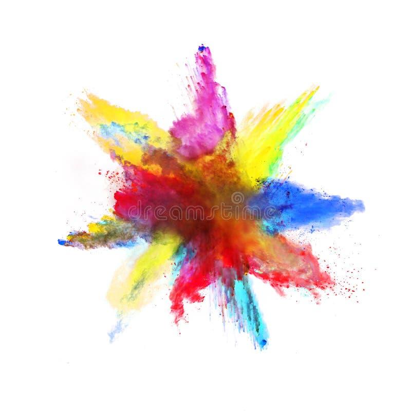 Abstrakt barwiący prochowy wybuch na białym tle fotografia royalty free