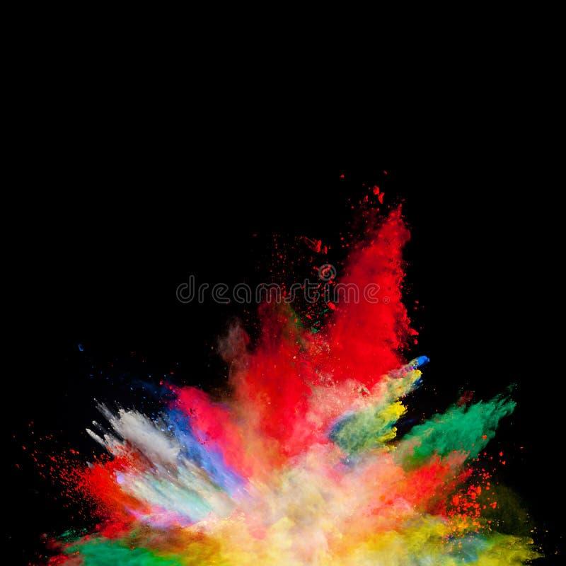 Abstrakt barwił prochowego wybuch odizolowywającego na czarnym tle zdjęcia royalty free