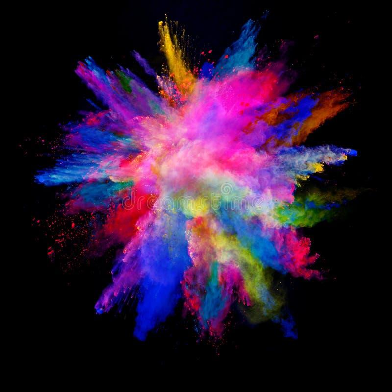 Abstrakt barwił prochowego wybuch odizolowywającego na czarnym tle zdjęcie stock