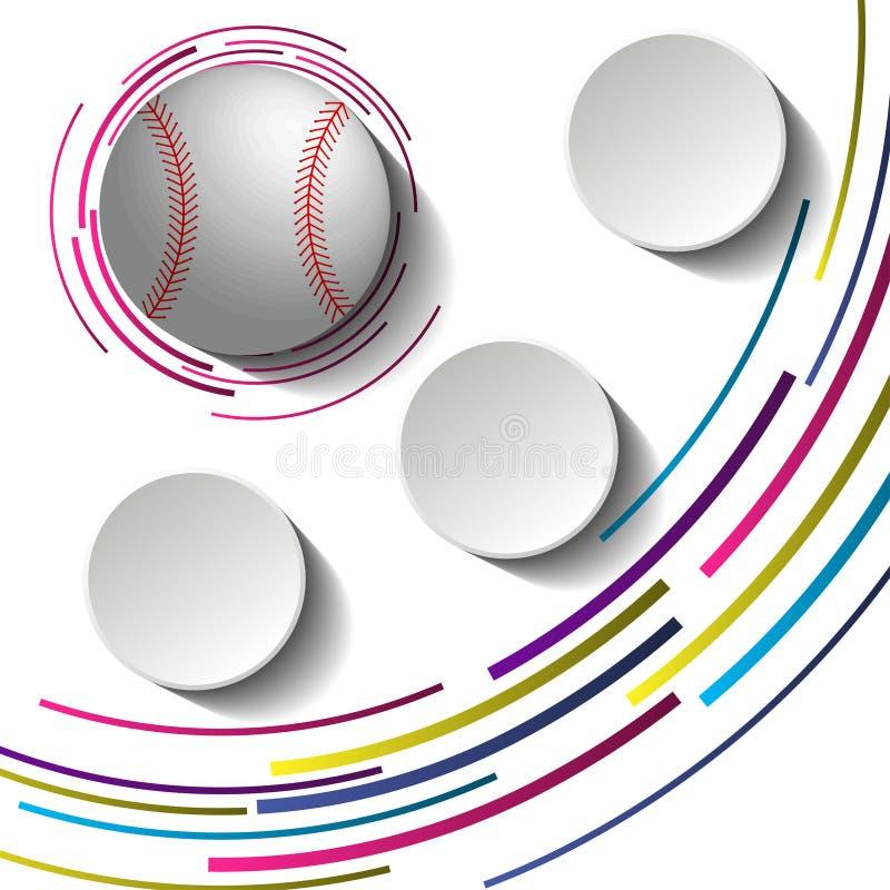 Abstrakt baseballbild med tre tomma pappers- plattor och boll 3d royaltyfri illustrationer