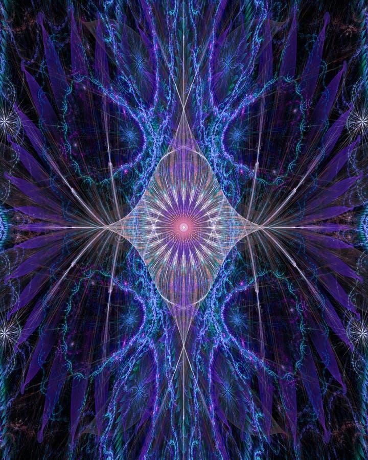 Abstrakt begrepp öga-som blomman med dekorativa vingar på sidorna i glänsande rosa färger, blått, lilor vektor illustrationer