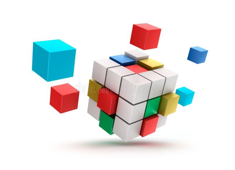 abstrakt begrepp 3D skära i tärningar bakgrund. på vit. stock illustrationer
