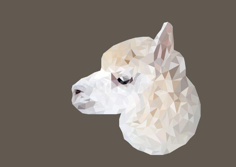 Abstrakt begrepp av Alpacahuvudet sköt den låga poly vektorn arkivfoto